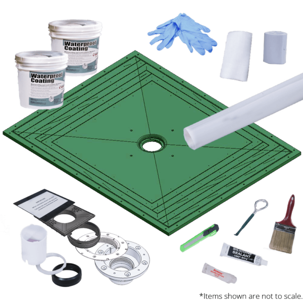 Level Entry Shower System 60 x 48 Kit with Strainer Grate